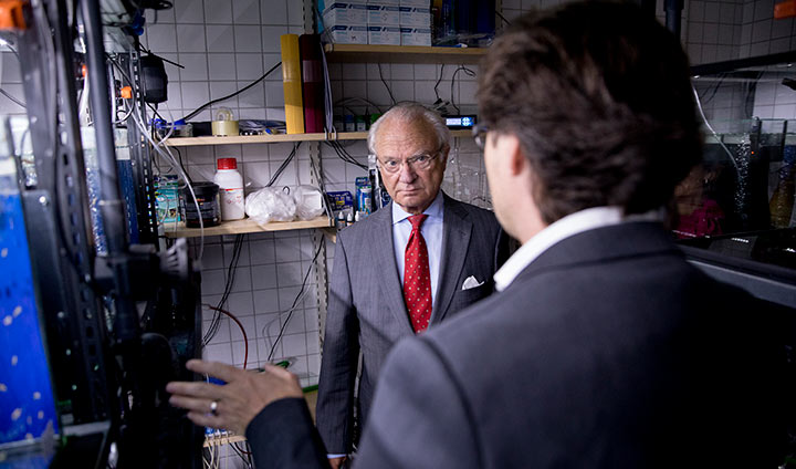 King Carl XVI Gustaf speaking with Steffen Keiter among the tanks with zebrafish.
