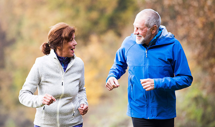 Older couples are out jogging