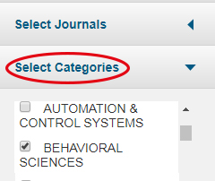 Skärmklipp från Journal Citation Reports med Select Categories rödmarkerat.