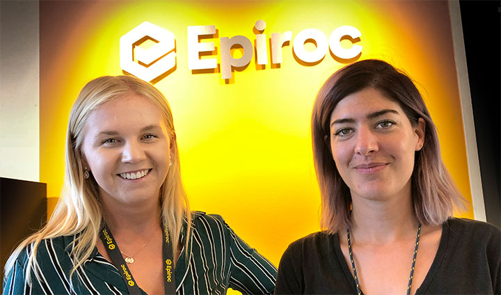 Student Sara Borg and her supervisor Nadine Krips at the multi-national company Epiroc.