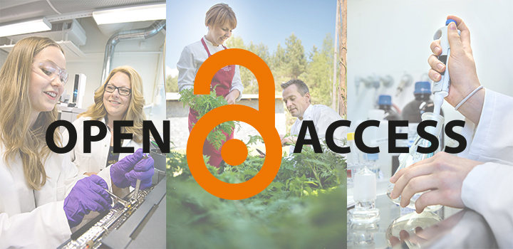 Logotype for Open Access on top of photos of three reaserchers at Örebro university