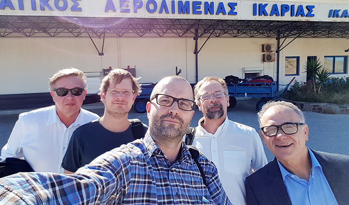 Five Örebro researchers want to unravel the mystery of why there are so many sprightly 100-year-olds on Ikaria. From left to right: Allan Sirsjö, Mikael Ivarsson, Alexander Persson, Magnus Grenegård and Nikolaos Venizelos.