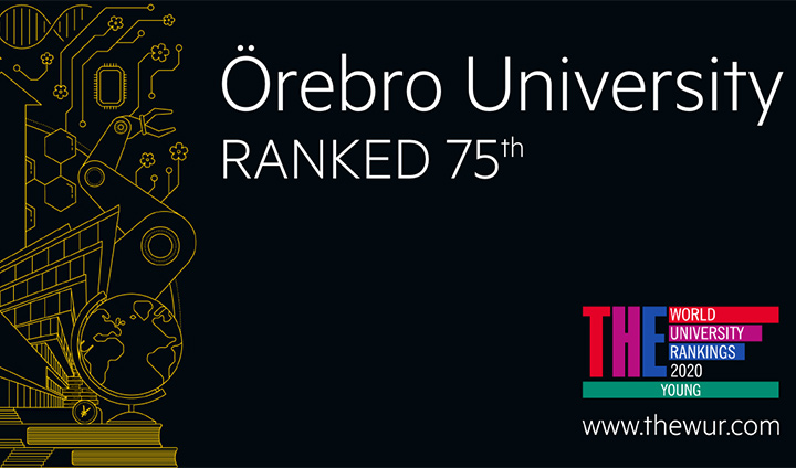En affisch med texten Örebro University ranked 75th