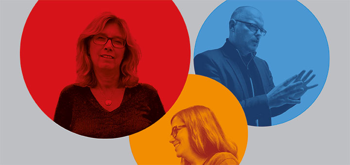 Logotype for Social Impact Lab at Örebro University. Three round balls (red, blue and orange) with a grey background, with a picture of Social Impact Lab participants in each ball.