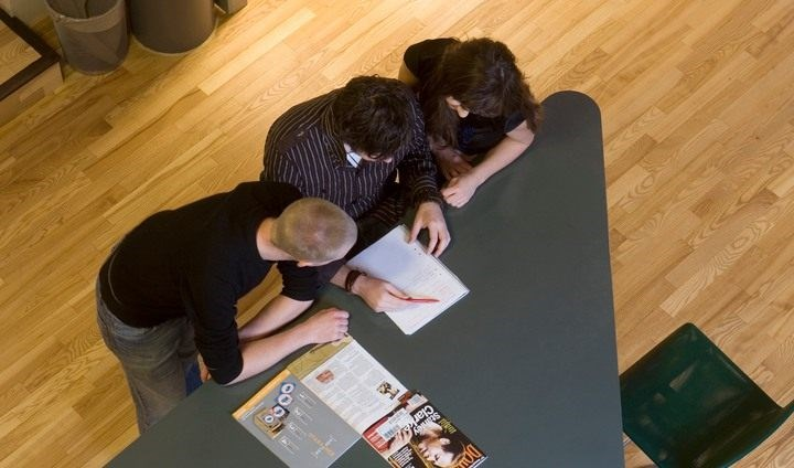 A group of students studying together.