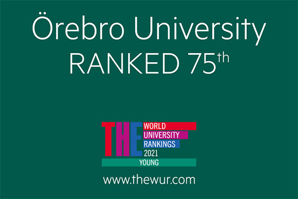 Poster with the text Örebro University ranked 75th