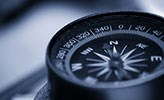 Close up of a compass.