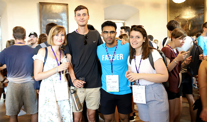 Exchange students Laetitia Tomic, Thomas Barcellini and Fanny Arnould having refreshments at Örebro Castle, together with Ali Mousavi, student buddy for exchange students.