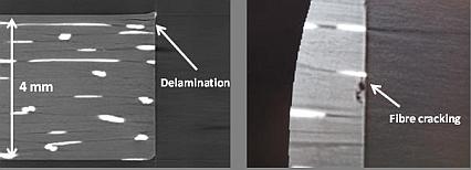 Bild på skador i borrade hål i CFRP komposit undersökt med tomografi.