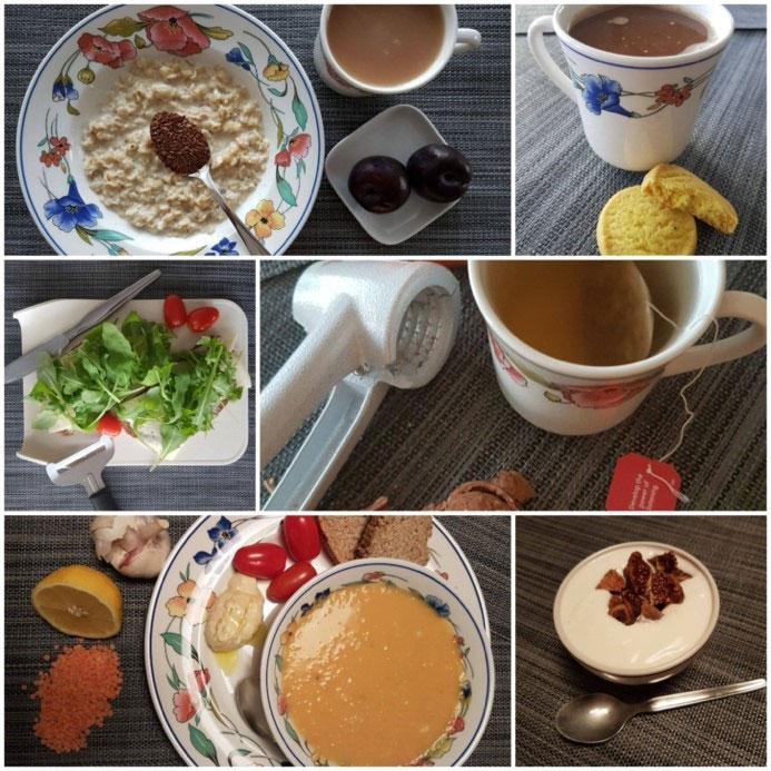 Ett collage med maträtter.